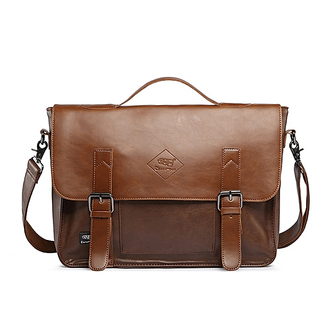 Other Brand Men's Briefcase Leather Business Laptop Handbag Vintage Korea Office Tote A4 Messenger Bag For Men Crossbody Shoulder Bag(Khaki) à prix pas cher