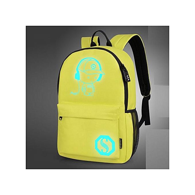 Fashion SingedanUnisex Light Preppy Teenagers Noctilucent Cartoon School Bags Student Backpack  -jaune à prix pas cher