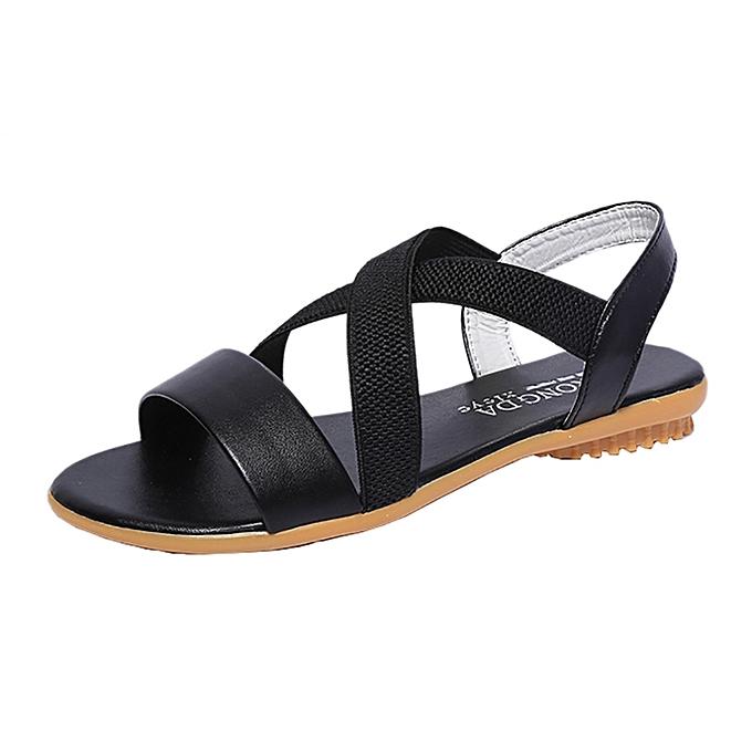 Generic Generic femmes Low Heel Anti Skidding Beach Cross Strap chaussures Sandals Peep-toe Sandals A1 à prix pas cher
