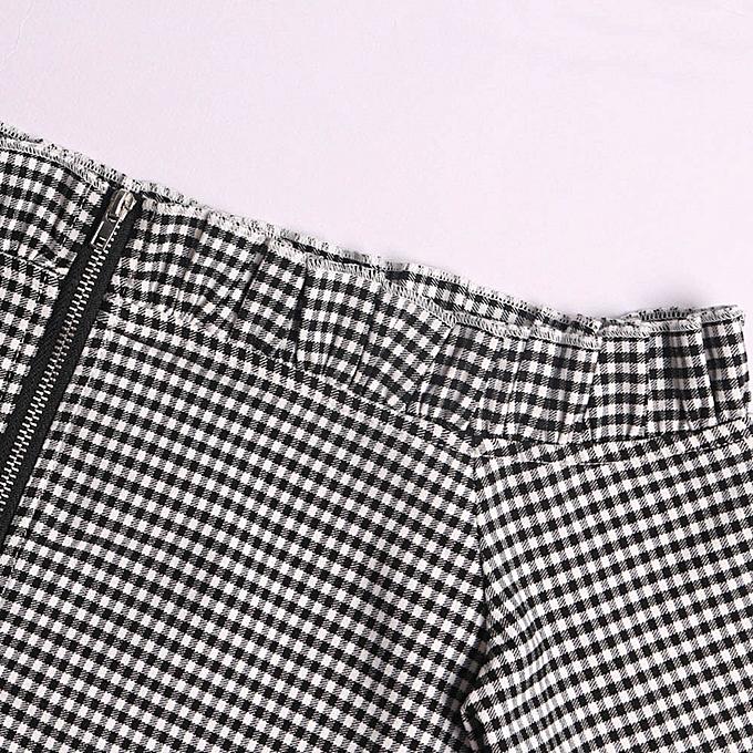 Fashion (Xiuxingzi) femmes Sexy Plaid Strapless Off Shoulder Camis Zipper Long Sleeve Tops Blouse à prix pas cher