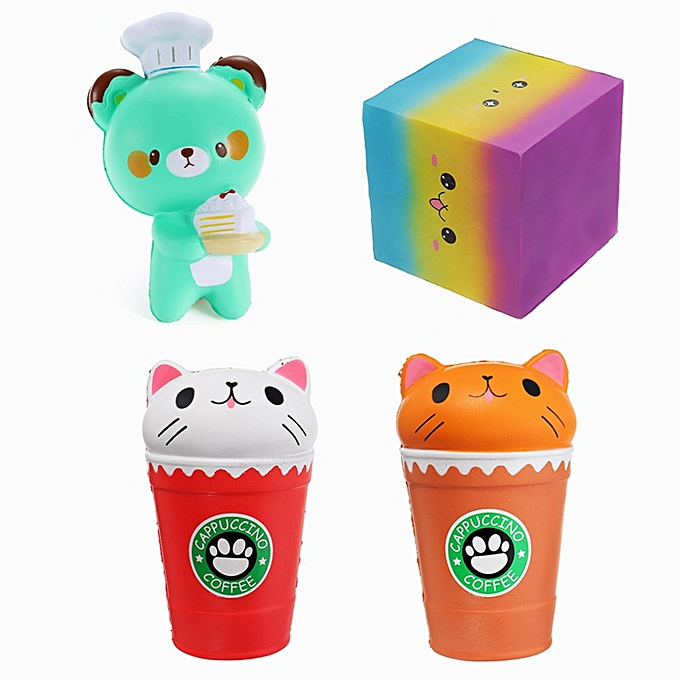 UNIVERSAL 4PCS Cartoon Coffee Cup Bear Square Cake Squishy Slow Rising Toy Package- à prix pas cher