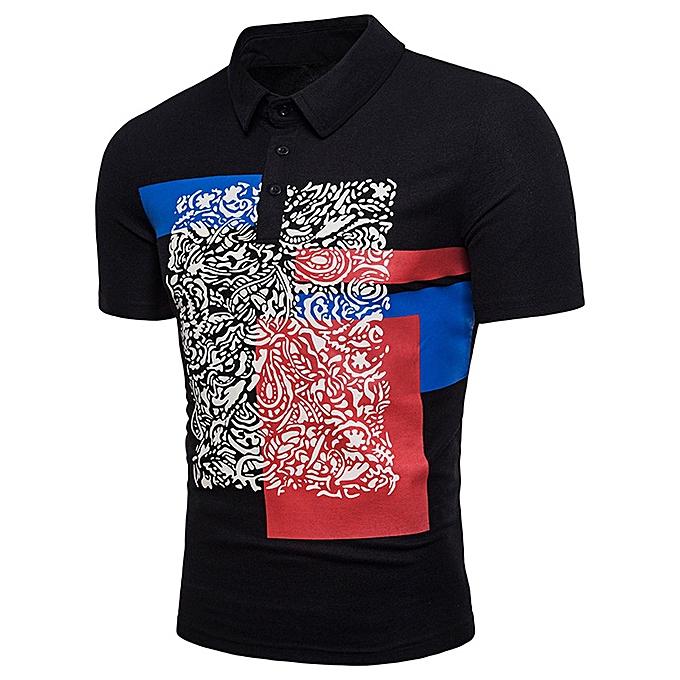 mode mode  Hommes& 039;s Décontracté Slim manche courte Printed T Shirt Top chemisier  -noir à prix pas cher