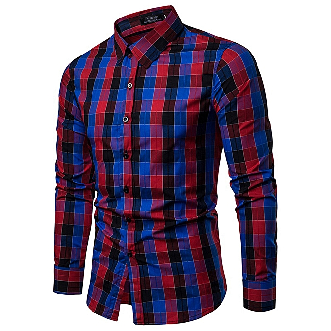 Fashion Men's Autumn And Winter New Style Biouse Casual  Couleurful  Long Sleeved Shirt -rouge à prix pas cher