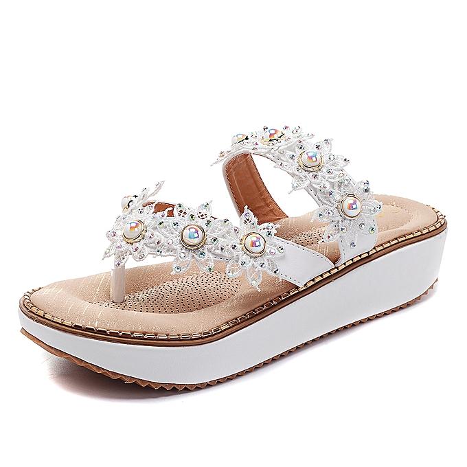 Fashion US Szie 5-11 Retro Rhinestone Flowers Soft Slippers femmes Summer chaussures à prix pas cher    Jumia Maroc