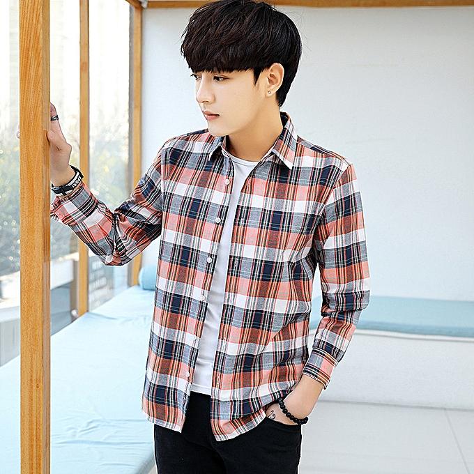 Fashion New programmer plaid shirt jacket cotton blanc-collar long-sleeved hommes shirt rouge à prix pas cher