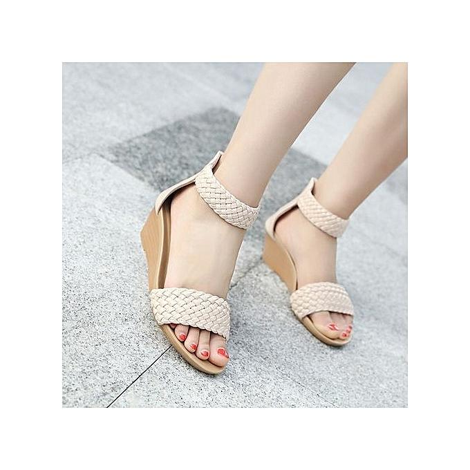 Fashion New Roman Style femmes Zipper Sandals Wedges Side Taille Round Head chaussures à prix pas cher