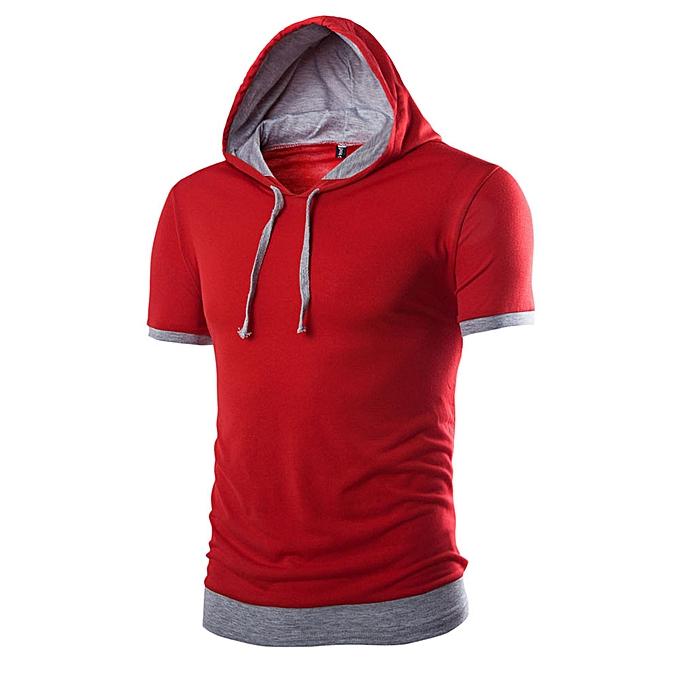 Fashion Hiamok Men Summer Fashion Hooded Solid  Men's Short-sleeved T-shirt  à prix pas cher