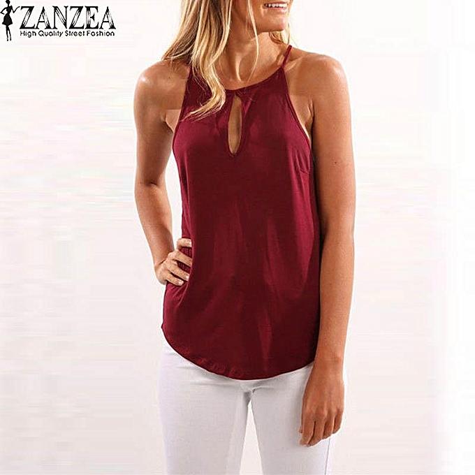 Zanzea ZANZEA femmes Halter Neck  Sleeveless Vest Blouse T Shirt Tee Cami Tank Top à prix pas cher