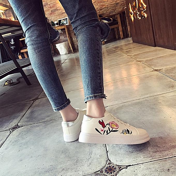 Générique Tcetoctre WoHommes Sport  Sport WoHommes Runn Sneakers Embroidery Flower Shoes Leisur Shoes Small White Shoes- White à prix pas cher  | Jumia Maroc 11d470