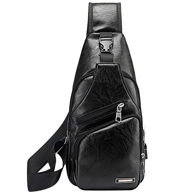 Other New Men's Bags Men's USB Chest Bag Designer Messenger bag Leather Shoulder Bags Diagonal Package 2019 new Back Pack Travel Hot(noir) à prix pas cher