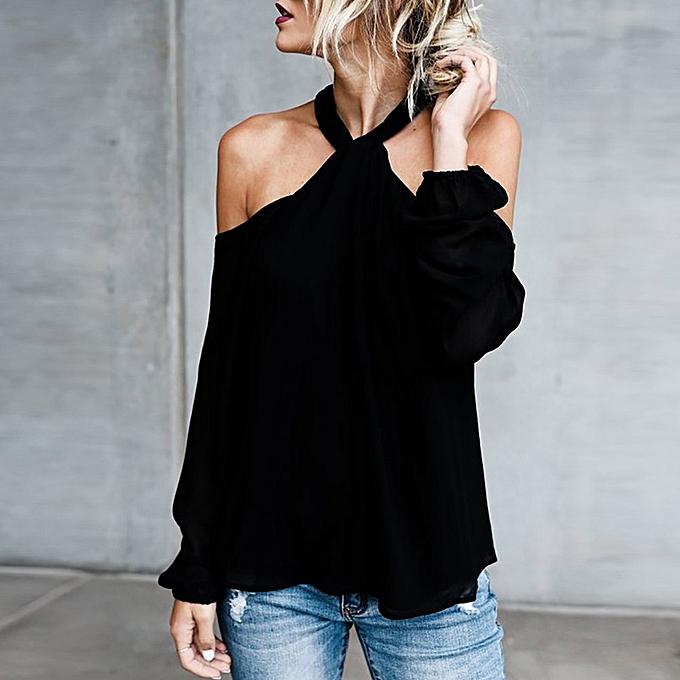 Fashion femmes Autumn Casual Long Sleeve Low Cut Twisted Halter Solid Top Blouse à prix pas cher