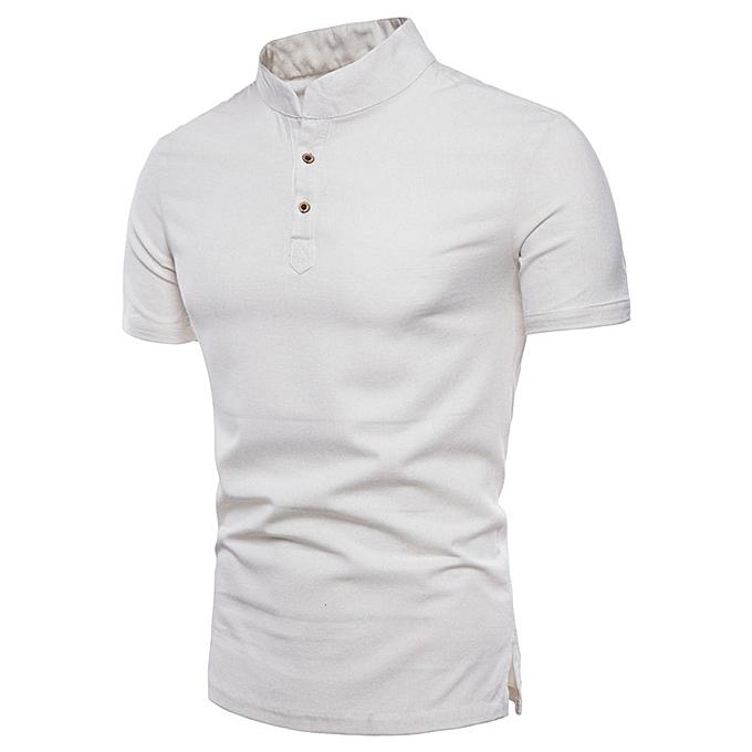 mode Pour des hommes Plus Taille Pure Couleur Shirt manche courte T-Shirt chemisier hauts -blanc à prix pas cher