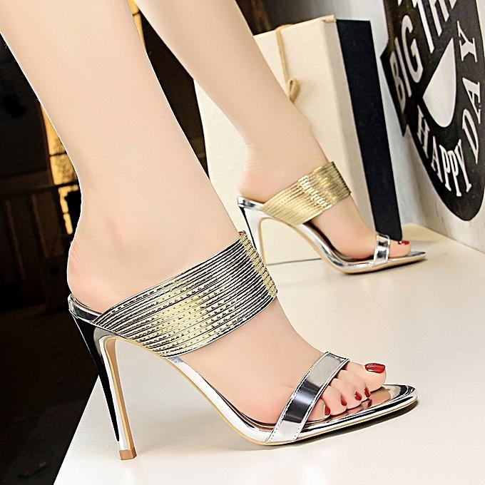 Other Metal Strap Open Toe talons hauts Slim Slippers à prix pas cher