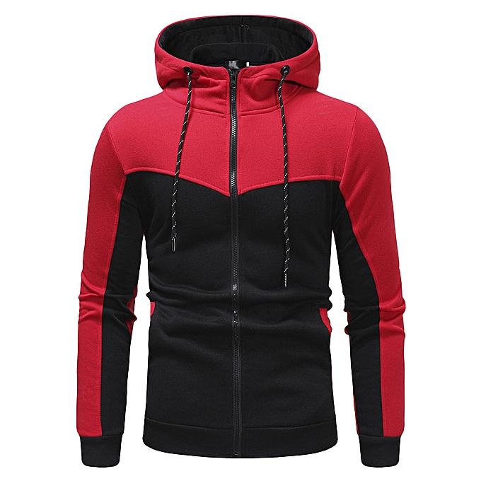 Fashion Fashion Men's Autumn Winter Packwork Slim Fit Long Sleeve Hoodie Top Blouse -rouge à prix pas cher