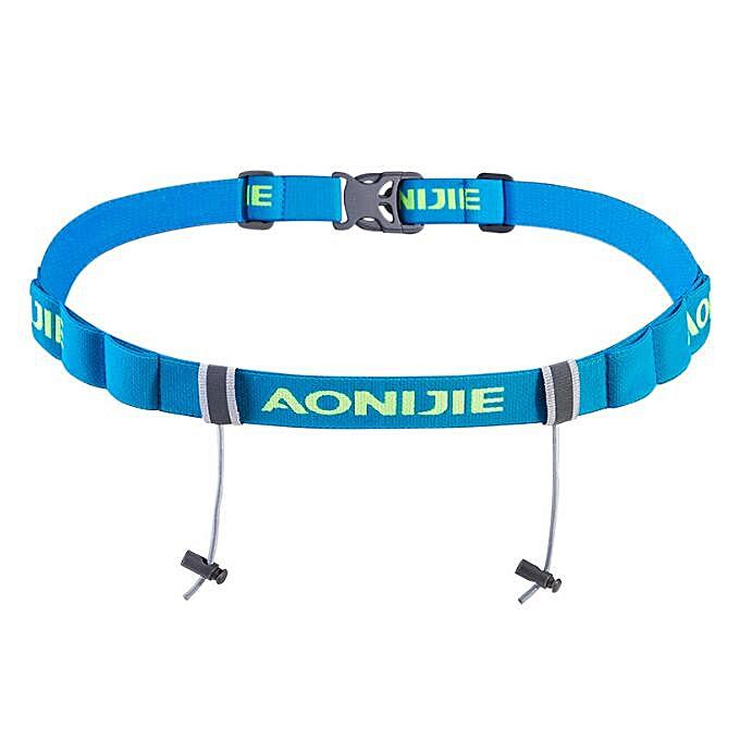 AONIJIE Men femmes Unisex Triathlon Marathon Race Belt With Gel Holder Running Elastic Reflective Flexible Number Canvas Belt(bleu Couleur) à prix pas cher