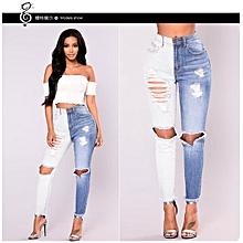 3ad211a26143d Jeans skinny femme taille haute stretch pantalon trou jeans slim trous  blanc et bleu jeans colorblock