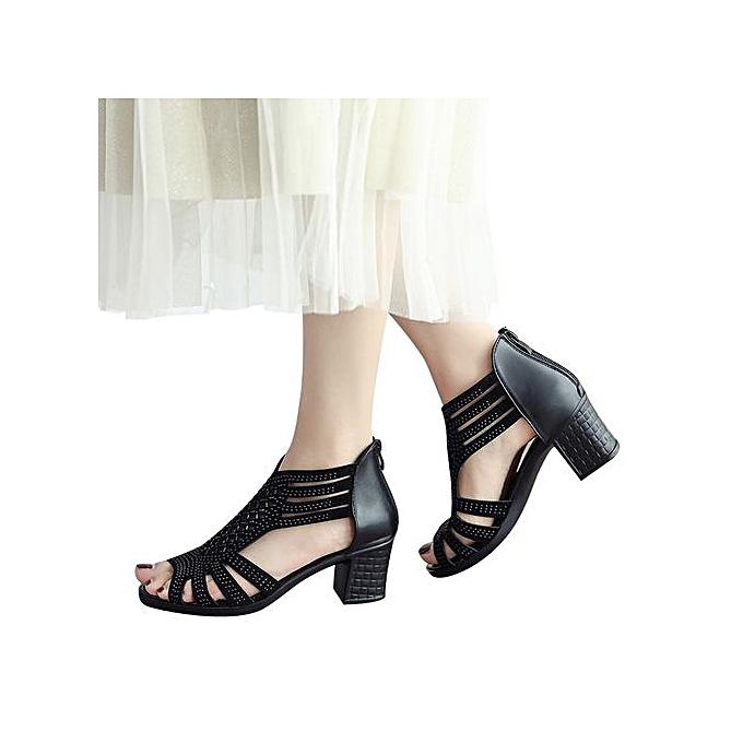 mode Jiahsyc Store femmes mode Crystal HolFaible Out Peep Toe Wedges Sandals High Heeled chaussures BK-noir à prix pas cher