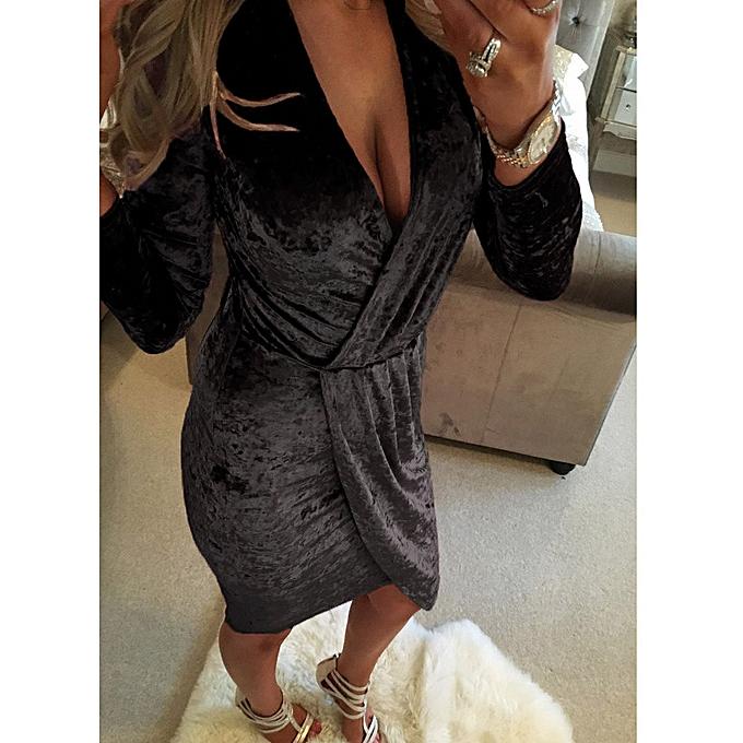 mode femmes manche longue V Neck Irregular Robe BK L à prix pas cher
