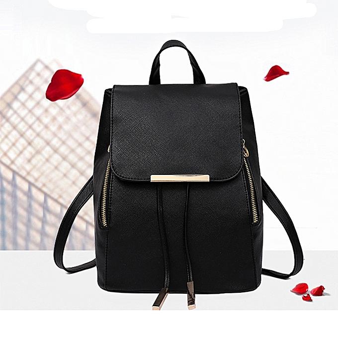 Neworldline 2Pcs Fashion femmes Girls Leather Backpack Travel School Handbag Clutch Bag BK-noir à prix pas cher