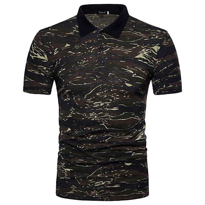 Fashion Men's Polo Shirt Casual Camouflage Print Turn-down Collar T-shirt Top Blouse   -vert à prix pas cher