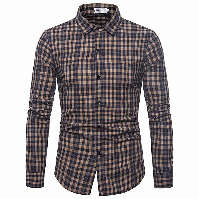 Fashion New casual hommes explosions casual pointed collar long-sleeved plaid shirt-bleu à prix pas cher