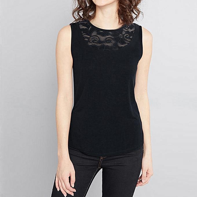 mode meibaol store femmes Sexy Solid Lace Splice Vest Button Round Collar Tank hauts à prix pas cher