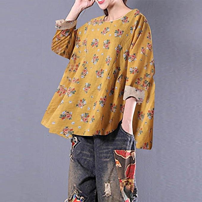 Zanzea ZANZEA femmes Casual Cotton Blouse T Shirt Vintage Plus Taille Boho Floral Top à prix pas cher