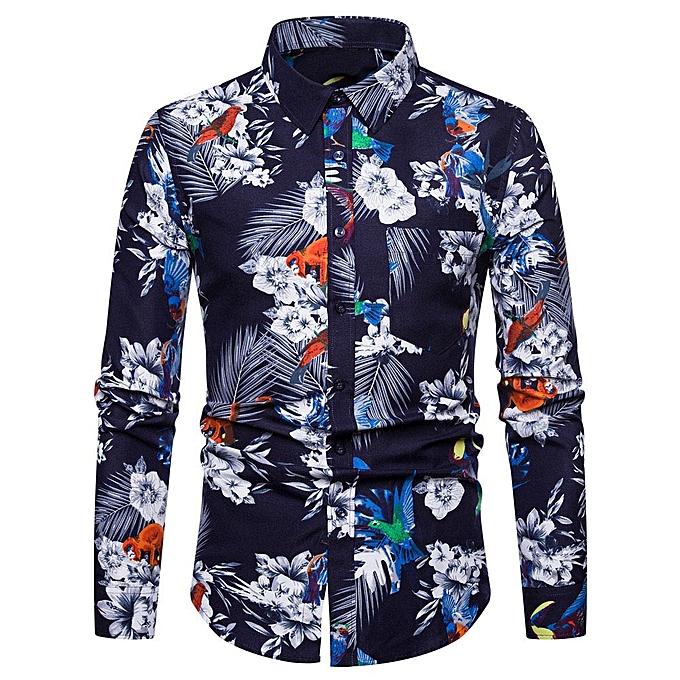 Fashion Men's Autumn Winter Fashion Casual 3D Printed Slim Long Sleeve Shirt Top Blouse- blanc à prix pas cher
