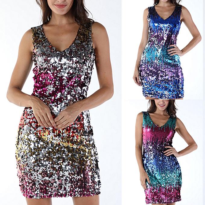 Fashion femmes Sexy Fashion Off Shoulder Long Sleeve Sequins Party Dress Bodycon à prix pas cher