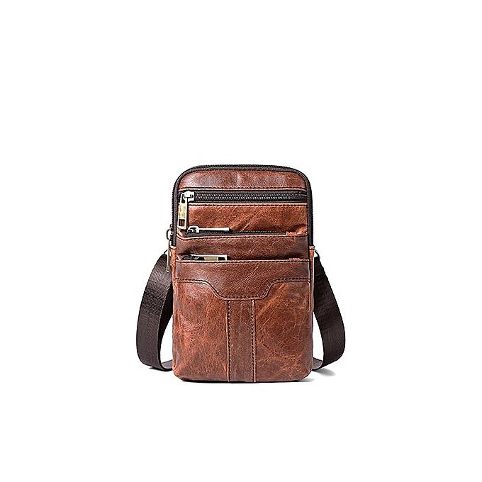 Other New Arrivals Vintage Cross-body Bags Premium  Leather Men Messenger Bag Mobile Phone Pockets High Quality Bolsa Masculina(Matte marron) à prix pas cher
