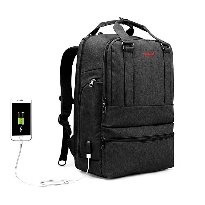 OEM Refined Anti theft 15.6inch Men business Laptop Backpack USB Charge noir à prix pas cher