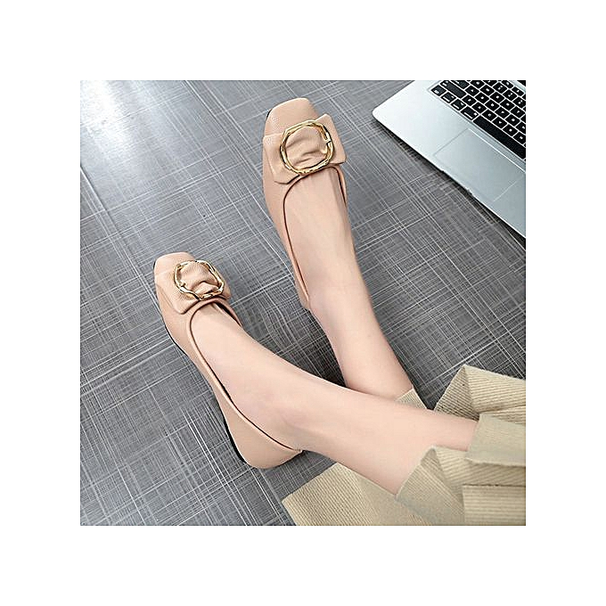 mode Xiuxingzi_femmes ShalFaible Bowknot Square Buckle Faible Heel chaussures Pointed Single chaussures à prix pas cher