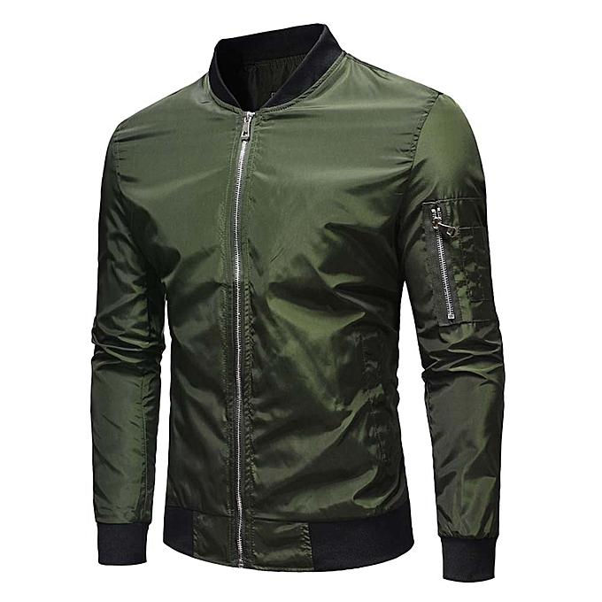 Fashion Men's Autumn Winter Casual Solid Zipper Jacket Coat Top Blouse Outwear -vert à prix pas cher