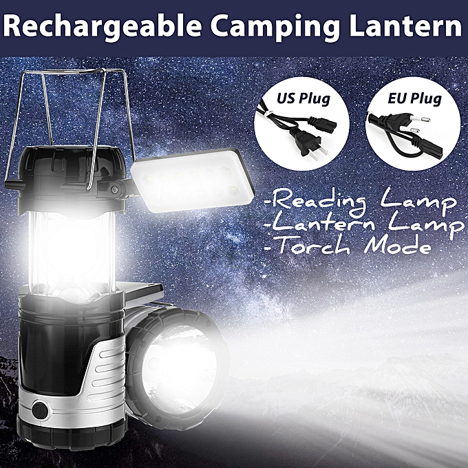 UNIVERSAL Solar Power LED Camping Lantern Torch Night Light Tent Desk Lamp Rechargeable à prix pas cher