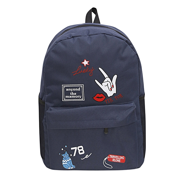 Generic Excellent femmes Girls Preppy Letter Print Shoulder Bookbags School Travel Backpack Bag à prix pas cher
