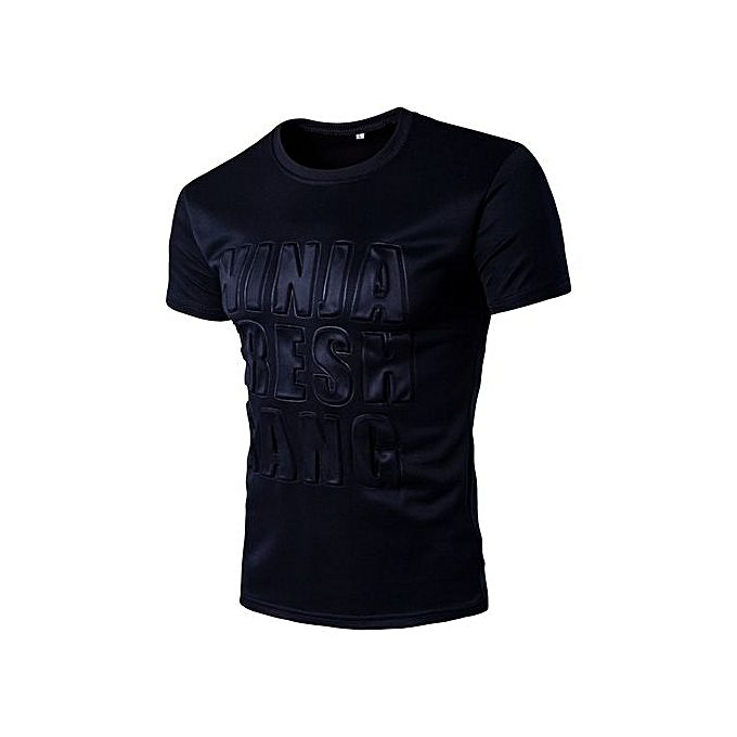 Generic Refined Hommes& 039;s Leisure T-shirt manche courted T-shirts Round Neck Solid Couleur Letter Pattern Slim grand Taille Personality T-shirt à prix pas cher