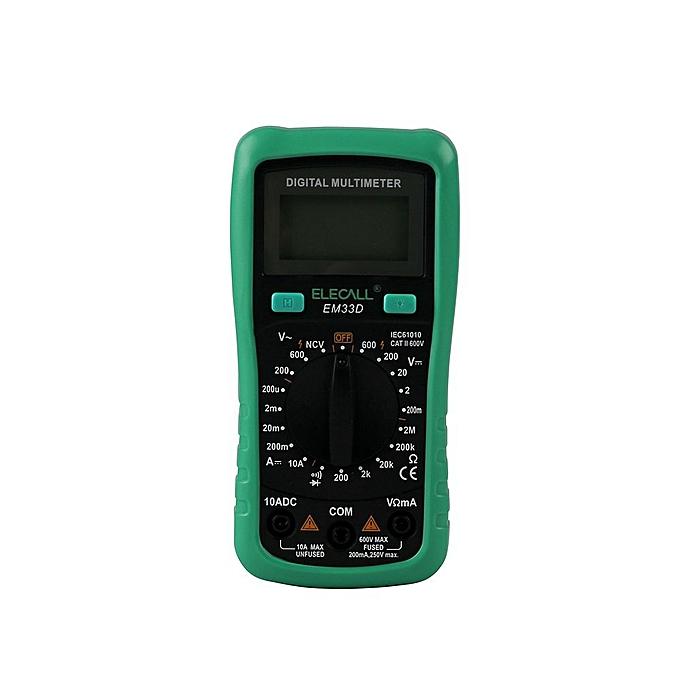GENERAL ELECALL 3 1 2 Digital Multimeter EM33D AC DC 600V 1999 Counts Backlight Data Hold NCV Voltage Detection Overload Prougeection à prix pas cher