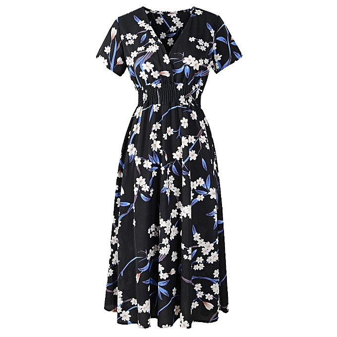 Fashion whiskyky store femmes V Neck Holiday Floral Print Dress Ladies Summer Beach Party Dress à prix pas cher