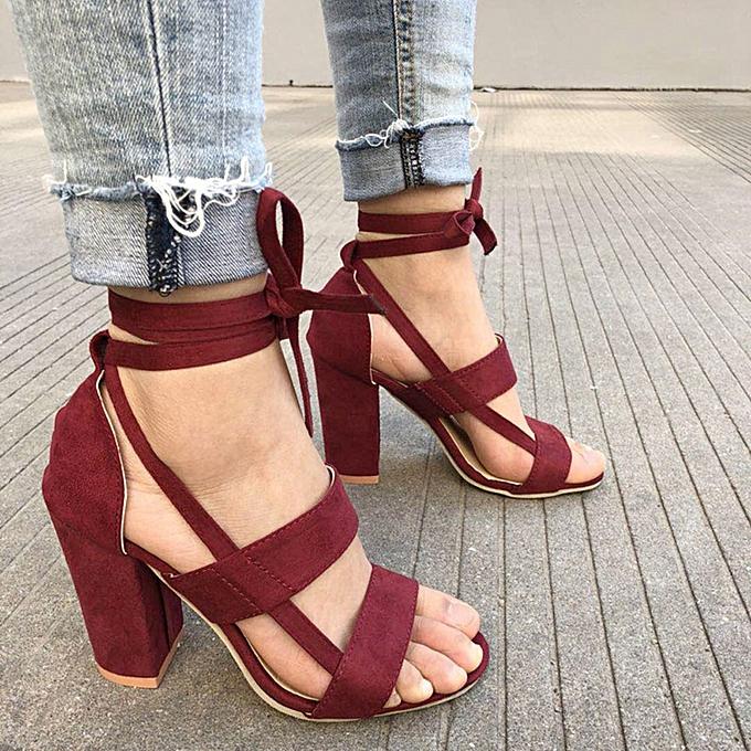 Generic Generic Fashion femmes Ladies Sandals Ankle talons hauts Block Party Open Toe chaussures A1 à prix pas cher