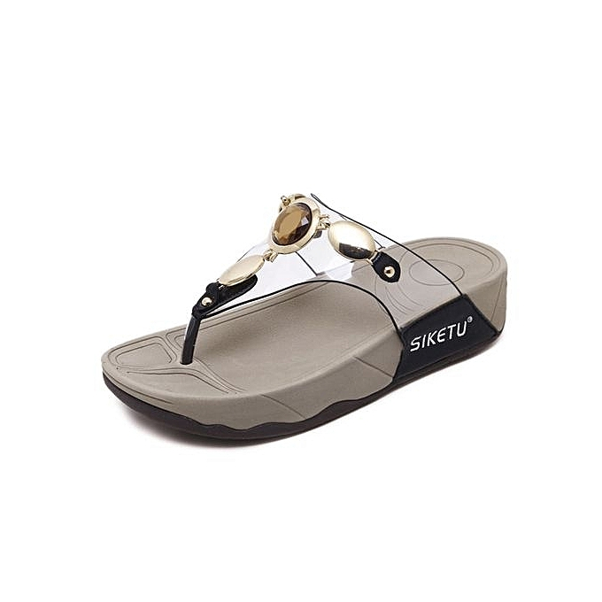 Generic Nice grand Taille femme Slippers mode Sandals Female Flip Flops Thin talons chaussures Décontracté Comfortable Slippers -noir à prix pas cher
