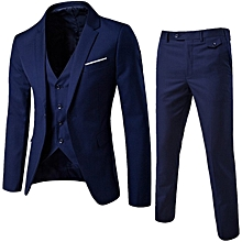 7b78a25c477bf Mens Slim Fit Suit 3 Pieces Suits Blazer Tux Vest & Trousers Size S-