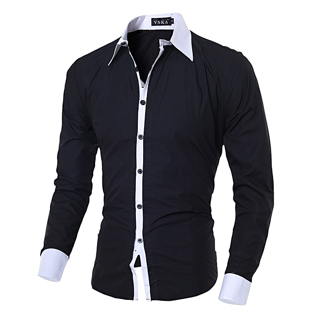 Other mode  Leisure manche longue Shirt Hommes& 039;s Classic Shirts-noir à prix pas cher