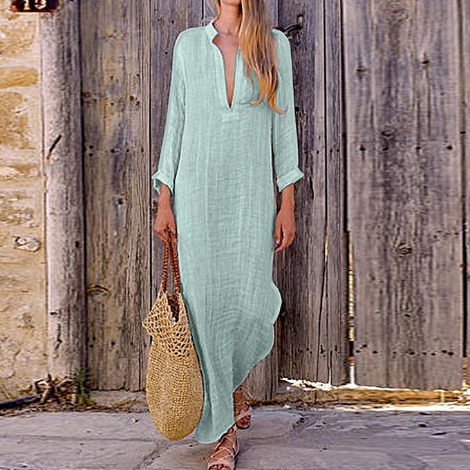 Fashion schoolcool femmes Boho Baggy Loose Long Sleeve V-Neck Linen Kaftan Maxi Dress Beach Dresses à prix pas cher