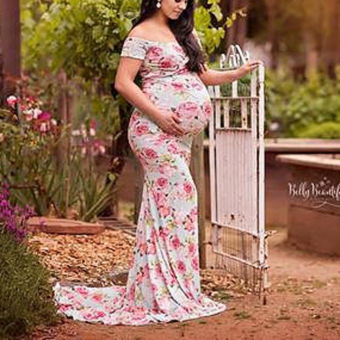 Fashion femmes Off Shoulder Pregnant Photography Nursing Printed Maternity Long Dress à prix pas cher