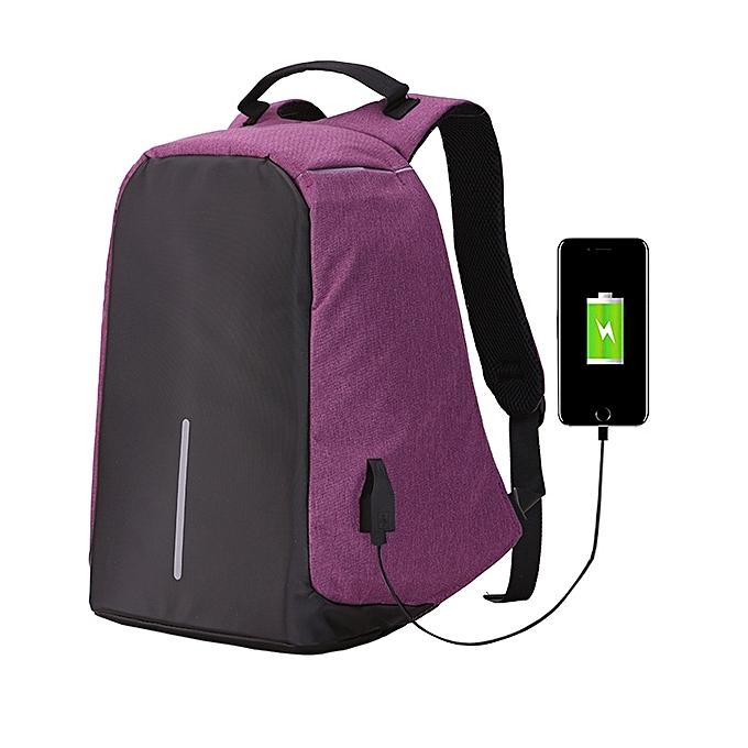 Generic Multi-Function grand capacité voyage Anti-theft Security Décontracté sac à dos Laptop Computer sac with External USB Charging Interface for Hommes   femmes, Taille  42 x 29 x 14 cm(violet) à prix pas cher
