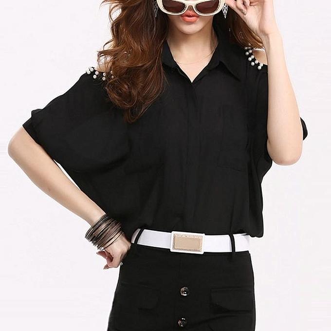 Zanzea ZANZEA S-3XL femmes Cold Shoulder OL voitureeer Office Lapel Button Shirt chemisier Loose Top (noir) à prix pas cher