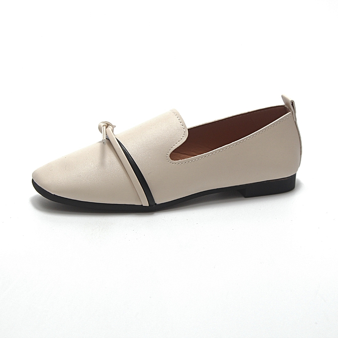 Other New Stylish  Wohommes chaussures Pure Couleur Flats Shallow Mouth Leather chaussures Single chaussures -A21 Beige à prix pas cher    Jumia Maroc
