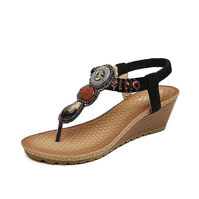 OEM Hot Sale  Large Taille Bohemia Summer femmes chaussures Wedge Sandals Vintage Crystal Rhinestone Sandals Beach Sandals -noir à prix pas cher