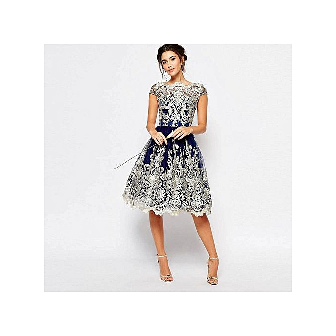 Fashion femmes Lace Embroidery Prom Formal Evening Party Bridesmaid Ball Gowns Dress à prix pas cher