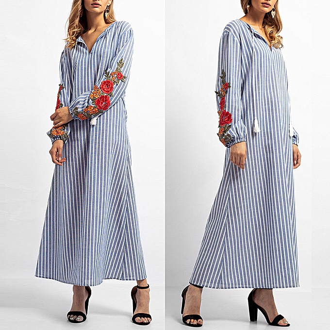 mode schoolcool femmes Stripe Embroidery Long Robe Islamic Muslim Middle East Maxi Robe Robees à prix pas cher